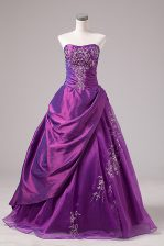 Super Floor Length Purple Sweet 16 Dresses Organza Sleeveless Embroidery