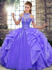 Deluxe Floor Length Lace Up 15th Birthday Dress Purple for Military Ball and Sweet 16 and Quinceanera with Beading and Ruffles