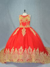 Sleeveless Tulle Court Train Lace Up 15th Birthday Dress in Red with Appliques