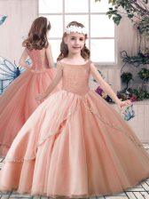 Off The Shoulder Sleeveless Little Girls Pageant Dress Wholesale Floor Length Beading Peach Tulle
