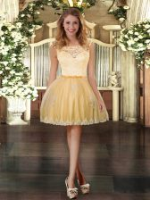 Adorable Gold Scoop Neckline Lace and Appliques Prom Dress Sleeveless Zipper