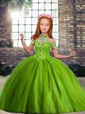 Olive Green Off The Shoulder Neckline Beading Little Girls Pageant Dress Sleeveless Lace Up