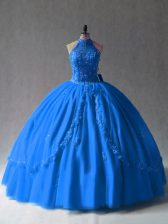 Decent Royal Blue Sweet 16 Dress Sweet 16 and Quinceanera with Beading and Appliques Halter Top Sleeveless Side Zipper
