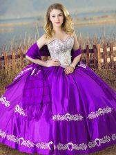 Floor Length Purple 15th Birthday Dress Satin Sleeveless Beading and Embroidery