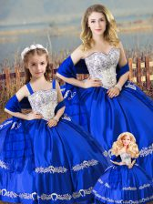 Cheap Sweetheart Sleeveless Satin Quinceanera Dresses Beading and Embroidery Lace Up