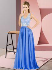 Super V-neck Sleeveless Backless Homecoming Dress Blue Chiffon
