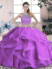 Exceptional Tulle Sleeveless Floor Length Sweet 16 Dress and Beading and Lace and Ruffles