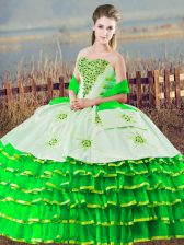 Sweetheart Sleeveless Quinceanera Gown Floor Length Beading and Ruffled Layers Green Organza
