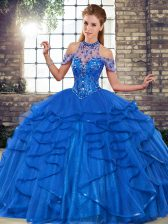 Hot Selling Tulle Sleeveless Floor Length Ball Gown Prom Dress and Beading and Ruffles