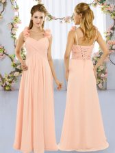 Sleeveless Chiffon Floor Length Lace Up Dama Dress for Quinceanera in Peach with Hand Made Flower