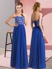 Custom Design Royal Blue Lace Up Sweetheart Beading Homecoming Dress Chiffon Sleeveless