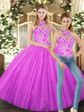 Floor Length Lilac Quinceanera Gown Tulle Sleeveless Embroidery