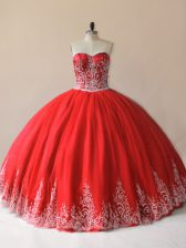 Red Ball Gowns Embroidery Sweet 16 Dresses Lace Up Tulle Sleeveless Floor Length