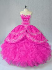 Elegant Sleeveless Floor Length Embroidery and Ruffles Lace Up Sweet 16 Quinceanera Dress with Fuchsia