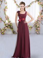 Sleeveless Zipper Floor Length Belt and Hand Made Flower Quinceanera Court Dresses