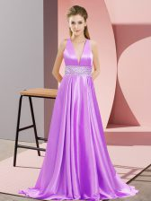 Lavender Prom and Party with Beading V-neck Sleeveless Brush Train Backless