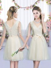 Sleeveless Bowknot Lace Up Quinceanera Court Dresses