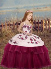 Floor Length Fuchsia Pageant Gowns For Girls Tulle Sleeveless Embroidery