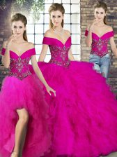 Modern Floor Length Three Pieces Sleeveless Fuchsia Sweet 16 Quinceanera Dress Lace Up