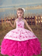 Inexpensive Ball Gowns Little Girls Pageant Dress Wholesale Hot Pink Halter Top Organza Sleeveless Floor Length Lace Up