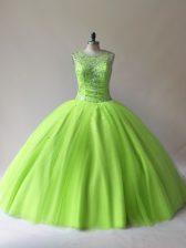 Graceful Floor Length Sweet 16 Dress Tulle Sleeveless Beading