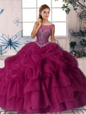 Fuchsia Sleeveless Brush Train Beading and Pick Ups Quinceanera Gown