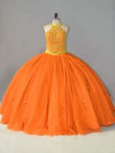 Cheap Floor Length Lace Up Quinceanera Gown Orange for Sweet 16 and Quinceanera with Beading