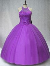 Ball Gowns Vestidos de Quinceanera Purple Halter Top Tulle Sleeveless Floor Length Lace Up
