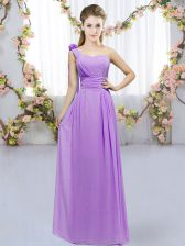 Pretty Lavender Lace Up One Shoulder Hand Made Flower Quinceanera Dama Dress Chiffon Sleeveless