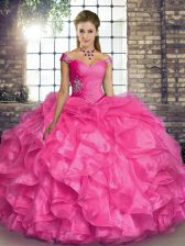 Suitable Off The Shoulder Sleeveless Lace Up Sweet 16 Quinceanera Dress Hot Pink Organza