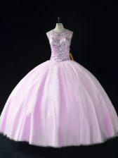 Lilac Scoop Lace Up Beading Sweet 16 Dress Sleeveless