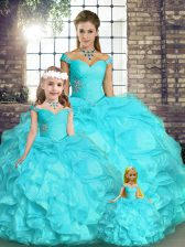 Artistic Aqua Blue Sleeveless Floor Length Beading and Ruffles Lace Up Quinceanera Gowns