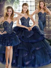 Navy Blue Three Pieces Sweetheart Sleeveless Tulle Floor Length Lace Up Beading and Ruffles 15 Quinceanera Dress