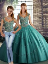 Teal Lace Up Straps Beading and Appliques Sweet 16 Quinceanera Dress Tulle Sleeveless