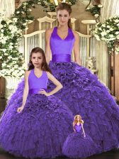 Elegant Purple Lace Up Halter Top Ruffles Sweet 16 Dresses Tulle Sleeveless