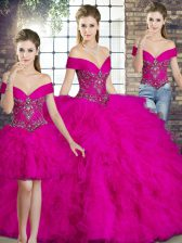 Suitable Sleeveless Floor Length Beading and Ruffles Lace Up Vestidos de Quinceanera with Fuchsia
