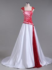 Unique White And Red Prom Dresses Strapless Cap Sleeves Court Train Lace Up