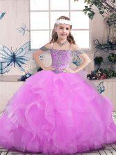 Sleeveless Beading Lace Up Little Girls Pageant Dress
