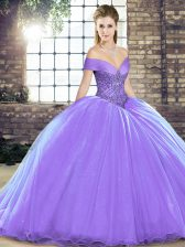 Luxurious Beading 15 Quinceanera Dress Lavender Lace Up Sleeveless Brush Train