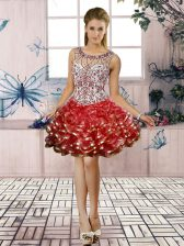 Attractive Scoop Sleeveless Prom Gown Mini Length Beading and Ruffled Layers Red Organza