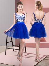 Stylish Tulle Bateau Sleeveless Zipper Lace Damas Dress in Royal Blue