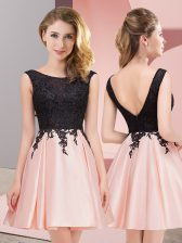 Hot Sale Scoop Sleeveless Zipper Dama Dress Pink Satin