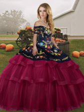 Sweet Sleeveless Tulle Brush Train Lace Up 15 Quinceanera Dress in Fuchsia with Embroidery and Ruffled Layers