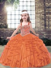 Cute Straps Sleeveless Lace Up Pageant Dress Toddler Orange Red Tulle