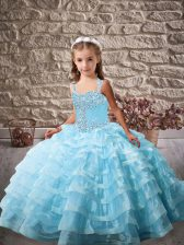 Baby Blue Ball Gowns Beading and Ruffled Layers Little Girls Pageant Dress Lace Up Organza Sleeveless