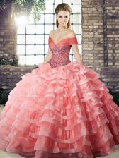 Watermelon Red Quinceanera Gowns Organza Brush Train Sleeveless Beading and Ruffled Layers