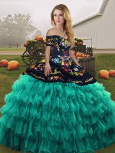 Organza Sleeveless Floor Length Quinceanera Gowns and Embroidery and Ruffled Layers
