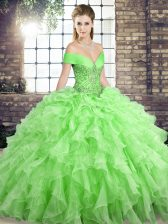 Adorable Off The Shoulder Sleeveless Quinceanera Gowns Brush Train Beading and Ruffles Organza