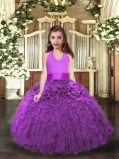 Top Selling Floor Length Lace Up Kids Formal Wear Eggplant Purple and Purple for Party and Sweet 16 and Wedding Party with Ruffles