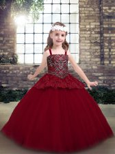 Red Tulle Zipper Child Pageant Dress Sleeveless Floor Length Beading